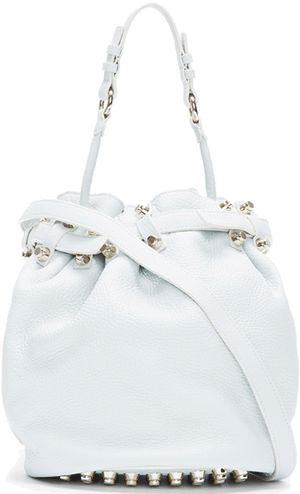 All White Handbags, Pure & Bright - Alexander Wang Pale Grey Leather Gold-Studded Diego Bucket Bag