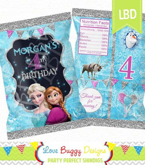 Frozen Treat Bag Candy Bag Chip Bag Party Bags  Any Age
