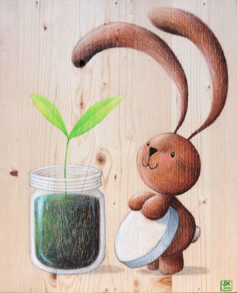 """Illustration """"Bunny Ciacio and the sprout"""", pencils on recycled wood.  Sarah Khoury, 2014"""