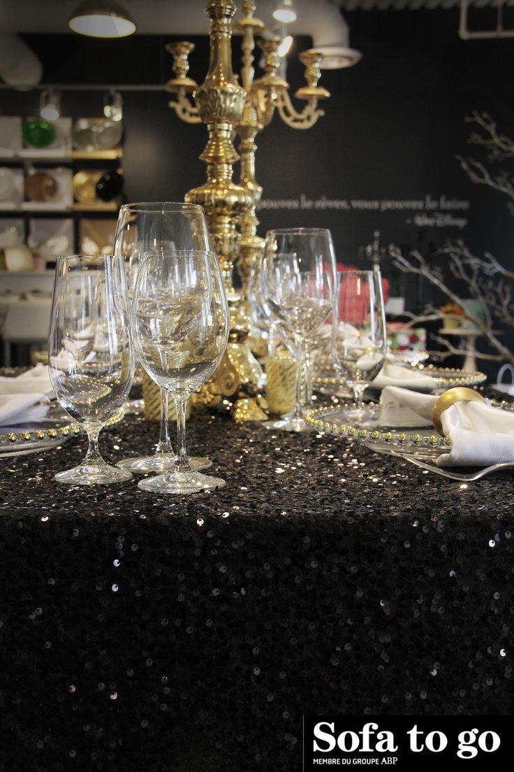 Nappe en paillette noire / Black glitter tablecloth - Sofa to Go