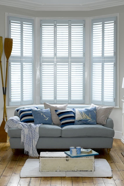 Shutters go great with every style - very casual for this Nautical themed seating area.