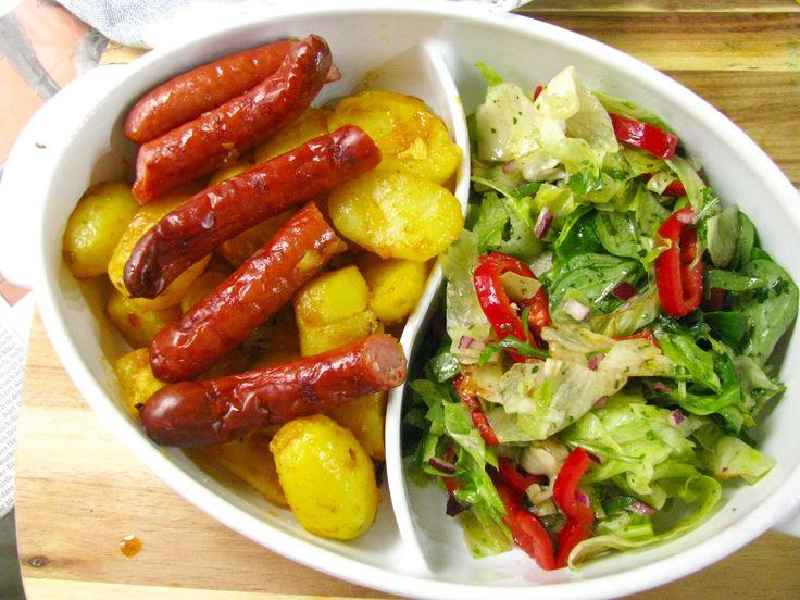 Pecene klobasky so zemiakmi