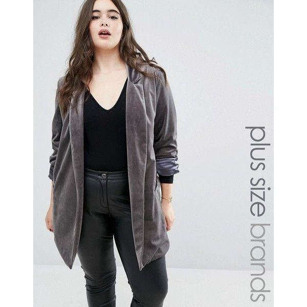 Elvi Velvet Boyfriend Blazer (£83) ❤ liked on Polyvore featuring outerwear, jackets, blazers, grey, gray jacket, velvet blazer, plus size blazer jacket, boyfriend jacket and open front blazer