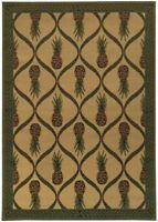 Tommy Bahama Tan Waves Swirls Pineapples Tropical Area Rug Nature Print 5594A