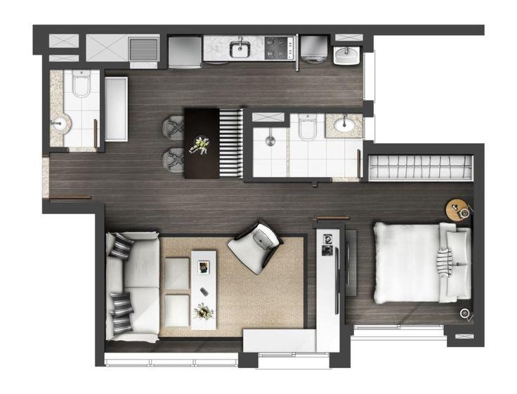 Plan maison 60m2 fabulous ma maison la runion with plan for Maison moderne 60m2