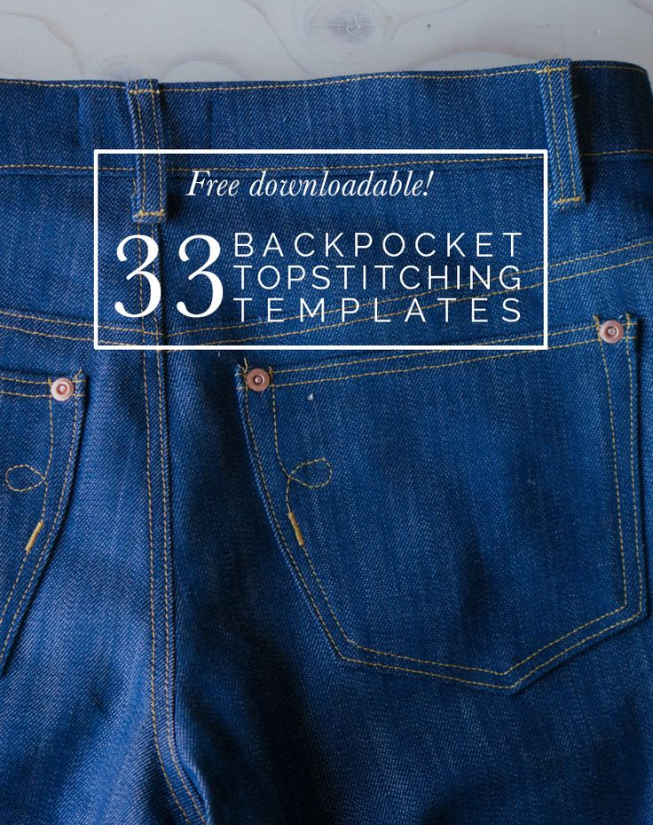 Need ideas for your jeans back pockets? Get this free downloadable with 33 topstitching designs! https://closetcasepatterns.com/free-downloadable-33-back-pocket-designs/