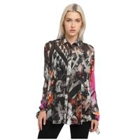 Bluze Long Sleeve Printed Sheer Top Femei