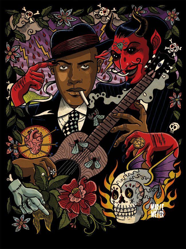 Colourful painting http://oigofotos.wordpress.com/2013/07/12/oscuras-leyendas-del-blues-robert-johnson-entre-cruces-de-caminos-y-pactos-con-el-diablo/