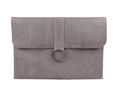 laptop sleeve grijs leer sprdlx | SPRDLX.NL kussens & woonaccessoires