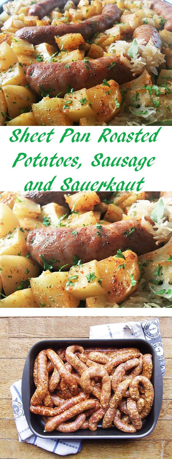 Sheet Pan Roasted Potatoes, Sausage and Sauerkraut: baked slowly while bathed in beer …