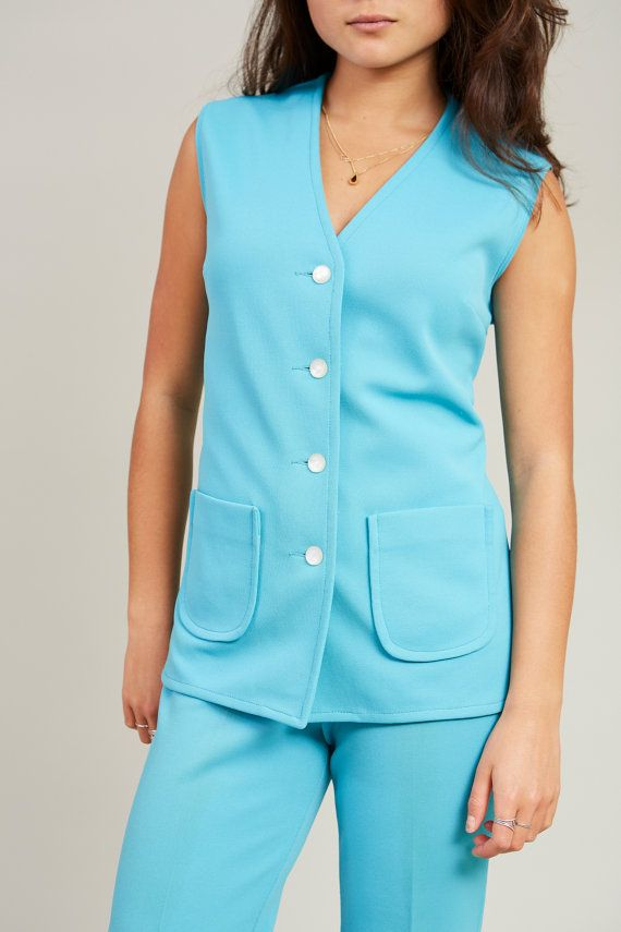1970s Tan Jay Bright Blue 2-piece Sleeveless Suit M FWB