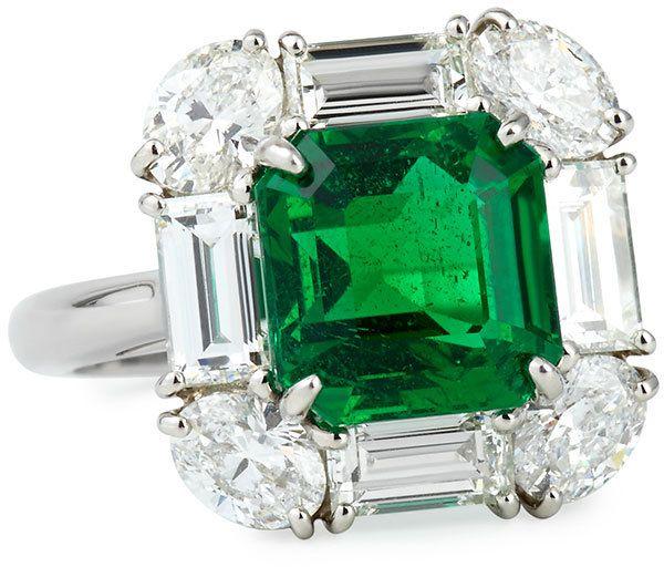 Bayco Zambian Emerald and Diamond Cocktail Ring