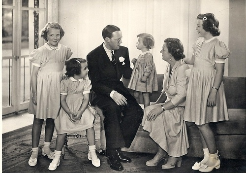 Dutch Royal Family through the years: Queen Juliana Prince Bernhard and daughters: Beatrix, Irene, Margriet and Christina