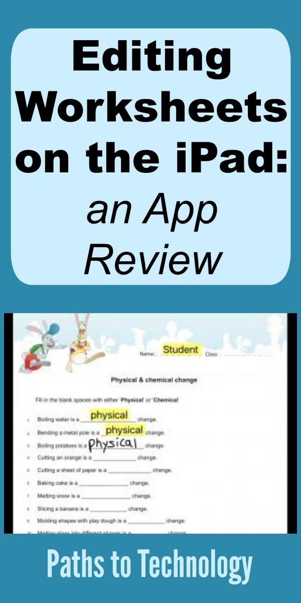 Editing Worksheets On The Ipad An App Review App Reviews Chemical And Physical Changes Visually Impaired Students