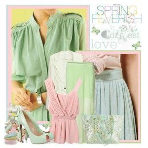Туфли мятного цвета, светло-зеленая длинная юбка, нежно-розовая туника