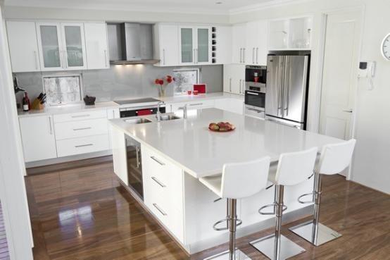 White Kitchen with Large Island Ideas
