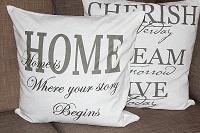 Home is where... (valkoinen/tyynyliina) Myös verhot on erittäin tervetulleita, varsinki kappa :)