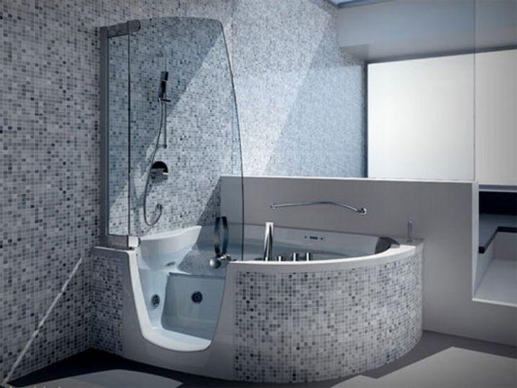 ... Corner Step In Whirlpool Tub With Modern Steam Shower