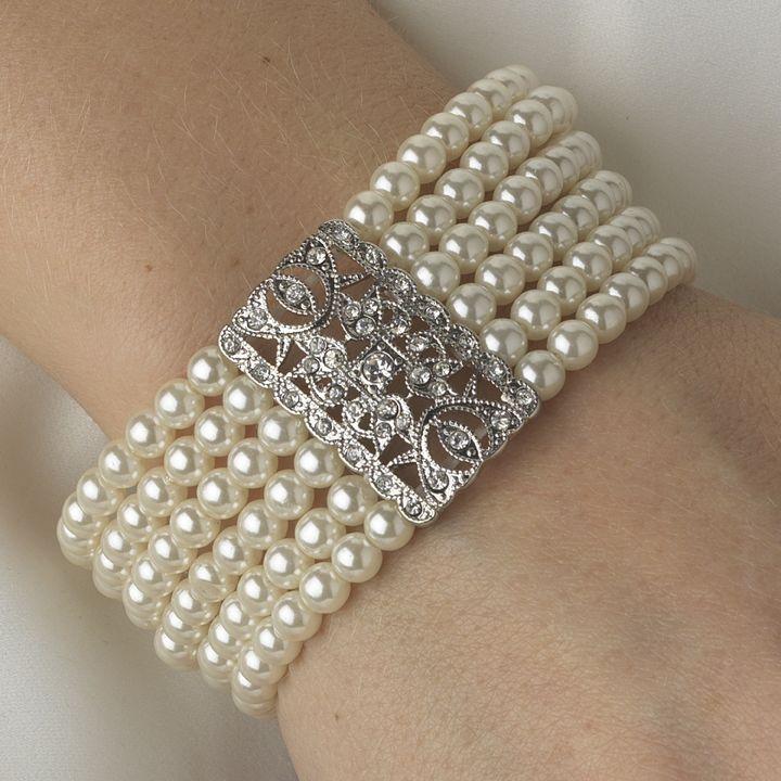Pearl and Silver Bridal Stretch Bracelet with Rhinestones - Affordable Elegance Bridal -