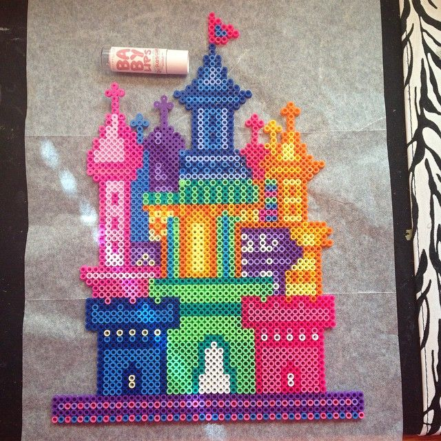 Fairy castle perler beads by Katie Binesh