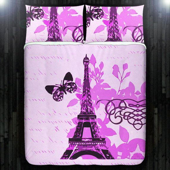 Pink Paris Bedding Eiffel Tower Duvet Cover Queen by DUVETCOVER, $20.00