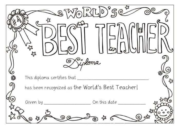 World's Best Teacher Diploma coloring page | Free Printable ... | 495x700