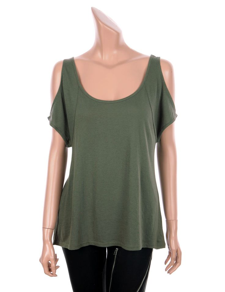 VICTORIA'S SECRET Sexy Cut Out Shoulder Short Sleeve Tees Tops Olive color, 3 sz #VICTORIASSECRET #Cutoutshouldertee