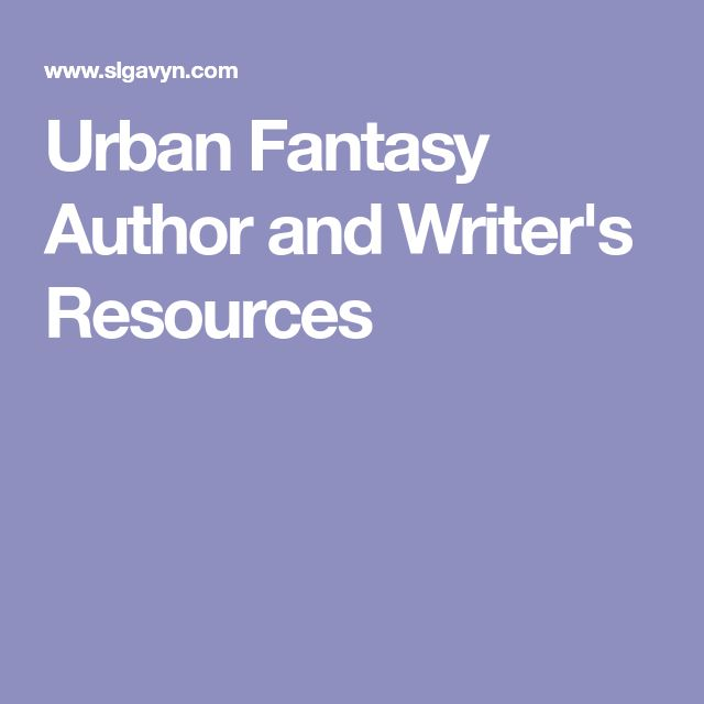 Urban Fantasy Author and Writer's Resources