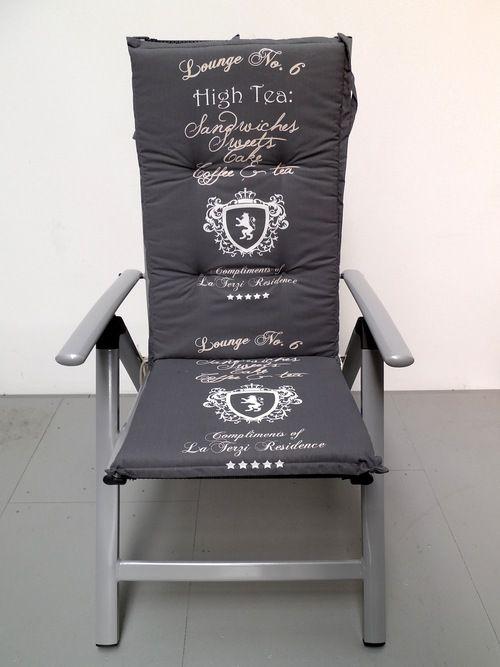 4 Stk.Gartenmöbel Hochlehner grau Sessel Auflagen Polster Kissen 6cm Gartenstuhl | eBay