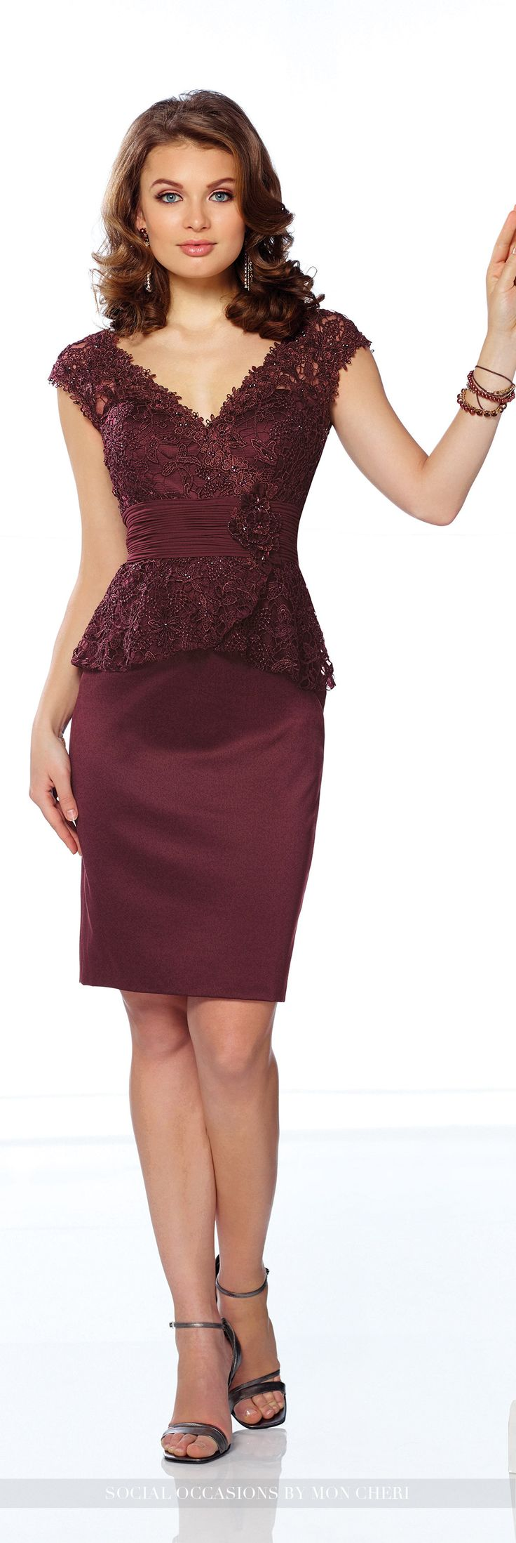 Short Evening Dresses by Mon Cheri - Fall 2016 - Style No. 216883 - wine short evening dress with lace peplum bodice and satin skirt