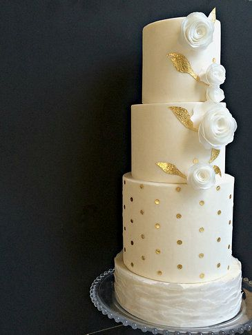 Gold Polka Dot Wedding Cake W Floral Accents