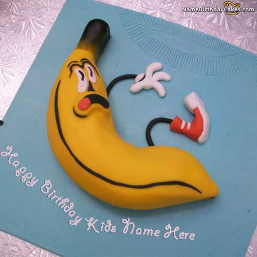 write name on Banana Birthday Cake For Kids picture