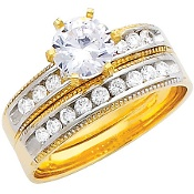 Anillo de Compromiso y Banda matrimonial para dama. Oro Amarillo decorado con CZ. 14K 4.0 gr. - RG220