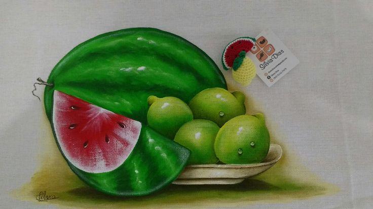 Limões e melancia. Pintura em tecido.