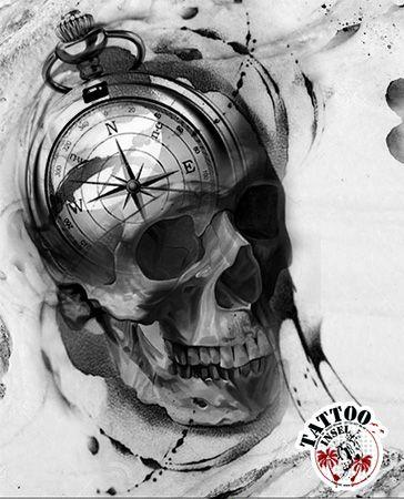 Kompass Compass Skull Totenkopf Trashpolka Polkatrash Tattoomotive der Tattoo Insel