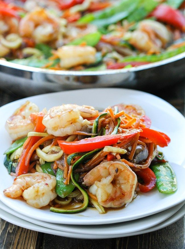 A healthy Asian inspired vegetables and shrimp stir-fry! Easy and healthy stir-fry with shrimp and spiralized zucchini; all in a simple stir fry sauce.