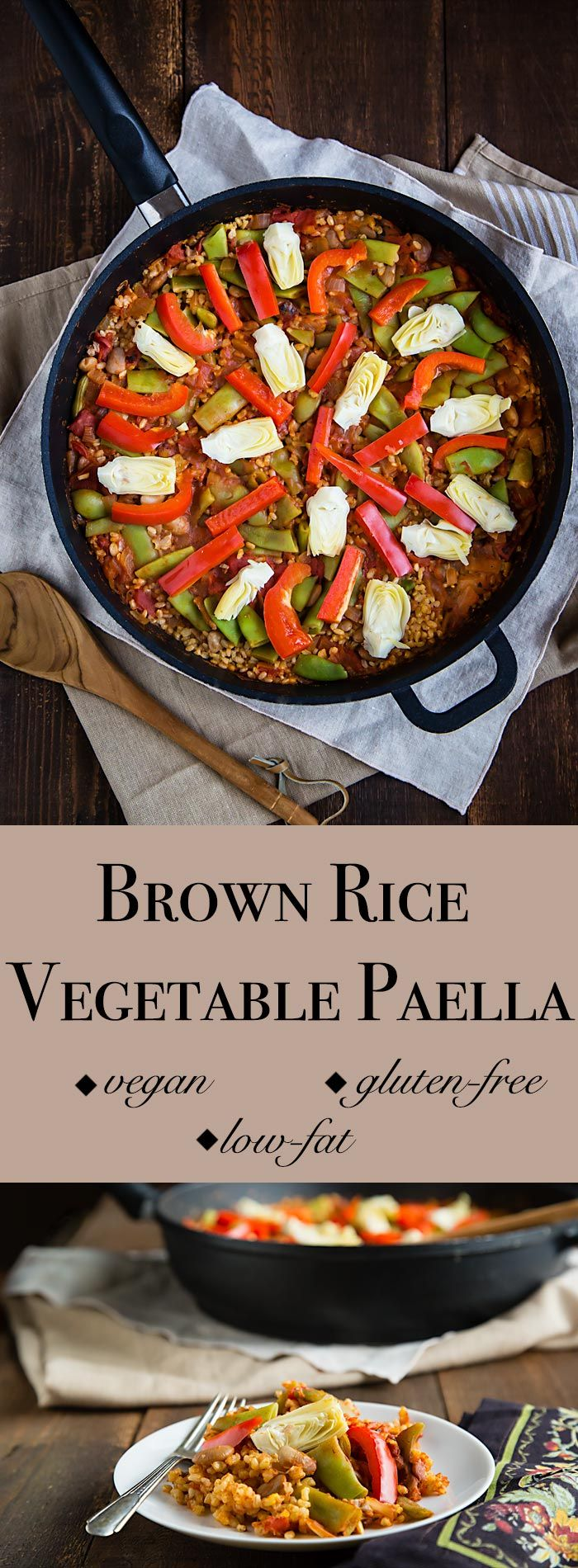 This vegan, fat-free brown rice paella is filled with vegetables and is a delicious, healthy version of the classic rice dish.