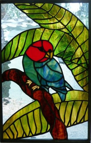 stained glass another   Tropical Stained Glass Panel - Stained Glass Parrot and Palm Tree