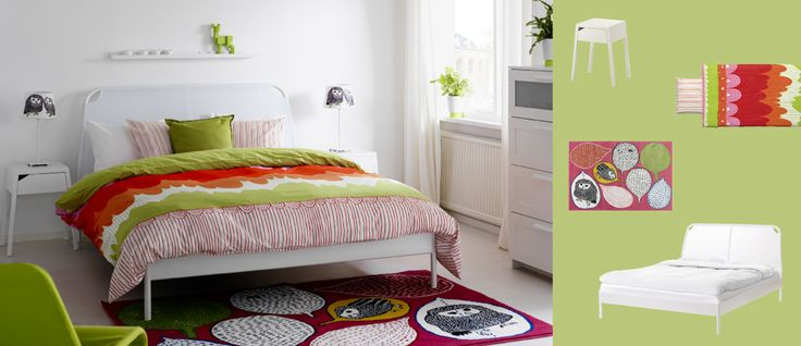 DUKEN white bed with SELJE white bedside tables and GULÖRT multicoloured rug