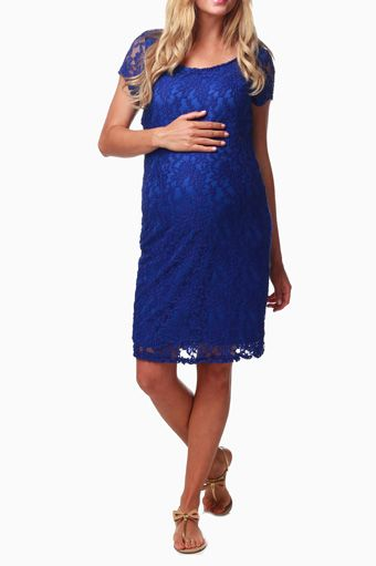 Royal Blue Textured Lace Maternity Dress