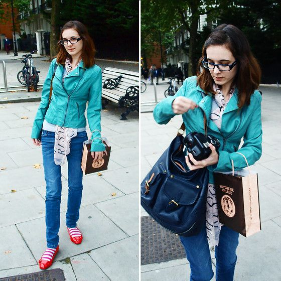 Get this look: http://lb.nu/look/7876844  More looks by Lix H.: http://lb.nu/lixhewett  Items in this look:  Joules Handbag, Pimkie Jacket, Pimkie Skinny Jeans, Asos Red Shoes, Forever 21 Striped Socks, Zaful Scarf, Specs Post Glasses   #casual #romantic