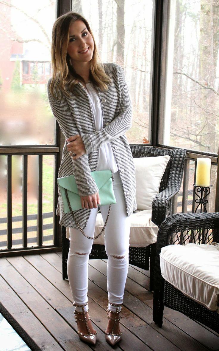 "TiffanyD: My long ""yummy"" sweater. (mint bag, Rockstud heels, white distressed denim)"