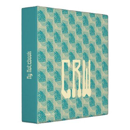 Teal Ivory Modern Graphic Design Monogram Template 3 Ring Binder - gift for her idea diy special unique