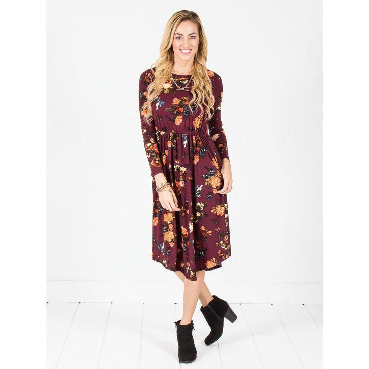 Long Sleeve Floral Midi Dress