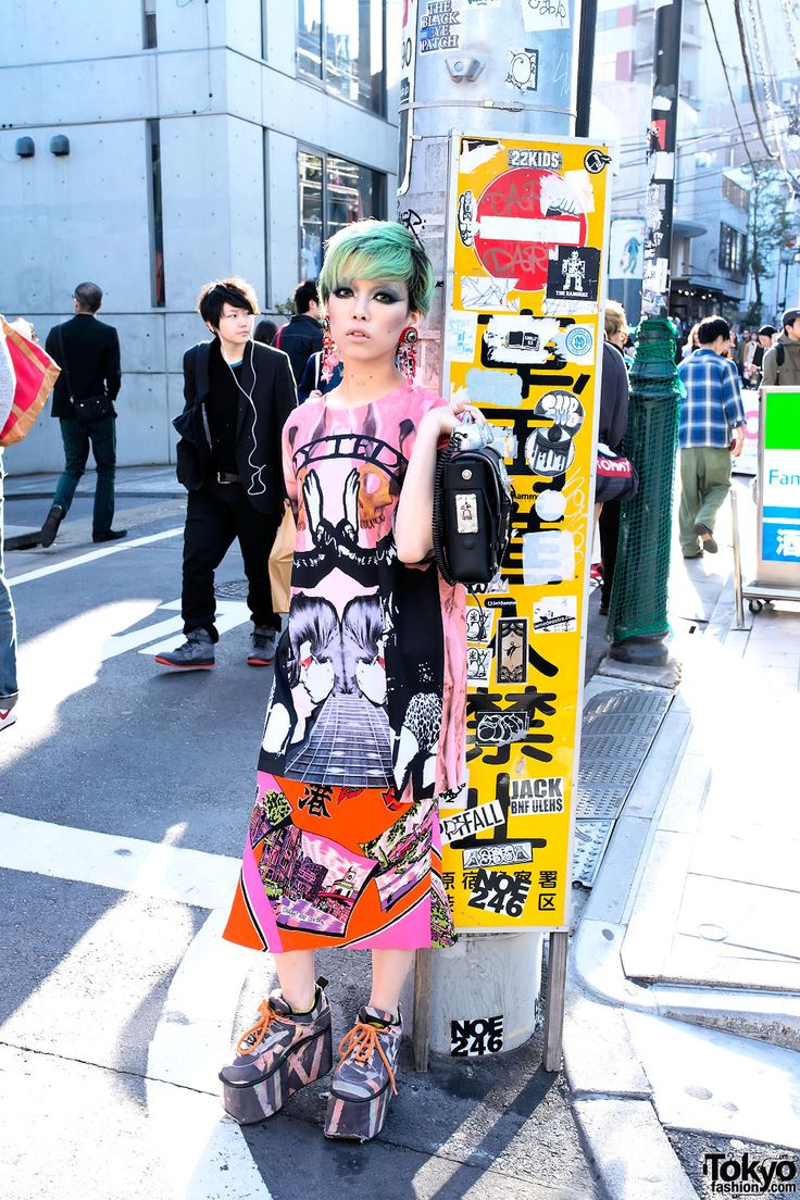 The one--only Hirari Ikeda on the street in Harajuku w/ items from Hi Tek London, Dog  Buffalo x Moonspoon Saloon. Hirari changed her hair again since I took these snaps. :-)