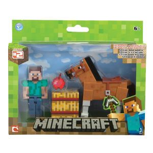 Minecraft Steve With Chestnut Horse Figure: Image 1