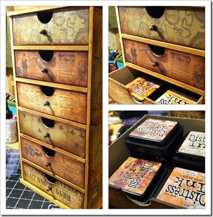 Kaisercraft Tower Storage units.  It comes flat packed and you make it up yourself but can you see what fits into each drawer?  EACH drawer holds 12 of the ink pads (come on you do the math – 4 piles of 3 ink pads) – 6 drawers of 12 ink pads = 72 Distress Pads at your disposal. - IMG_1149
