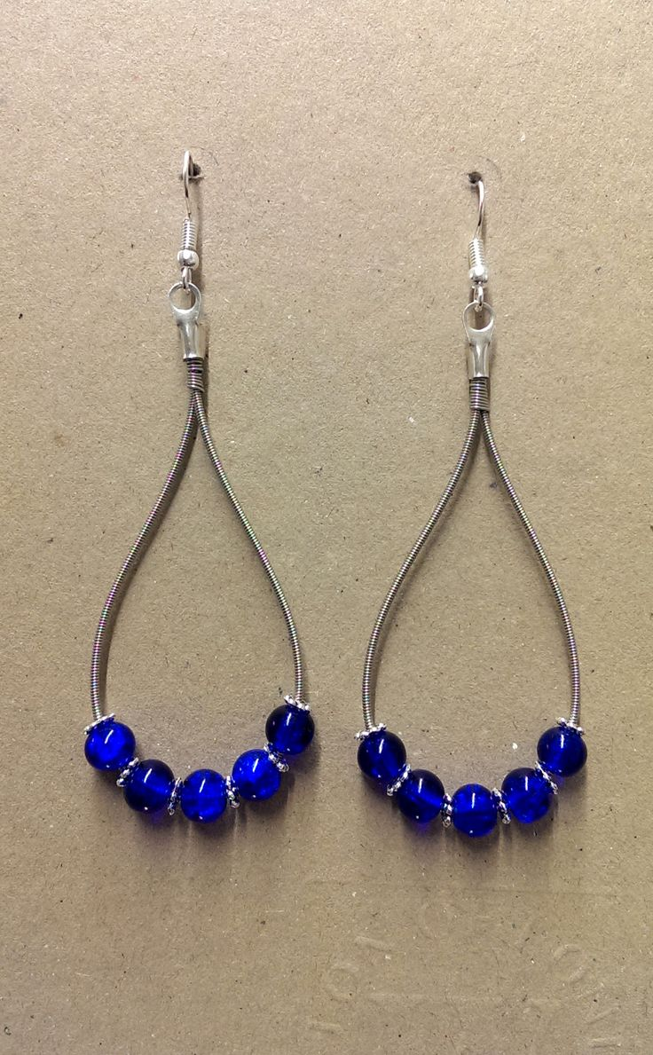 Blue Beaded Earrings