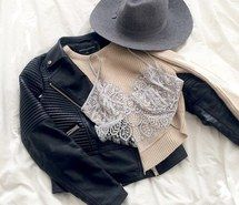 Inspiring image hat, jeans, lace bra, leather jacket, shirt #4624704 by LuciaLin…
