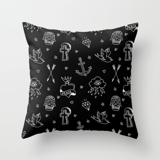 Tattoos Black Throw Pillow